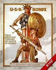 BOY SCOUTS OF AMERICA BE PREPARED WWII POSTER PAINTING ART REAL CANVAS PRINT