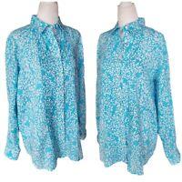 Lands End Linen Womens Blouse Button Up Top Long Sleeve Aqua White Vine Print M