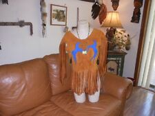 Native American buckskin/deer hide women's shirt  pow wow regalia 9/10
