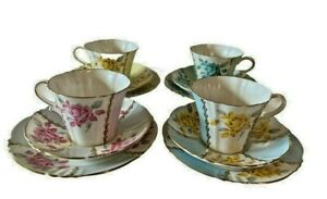 6 X Royal Standard Cup/Saucer & Plate Trio Sets Margaret Rose Fine Bone China