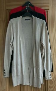 Ladies F&F New Black Red Beige Button Sleeve Edge Pocket Cardigan Top Size 6 -12