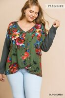 UMGEE Olive Floral Print Long Sleeve Waffle Knit Top Plus Size XL 1X 2X