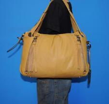 B. MAKOWSKY Light Brown Leather Zipper Shopper Shoulder Tote Carryall Purse Bag