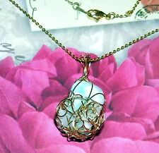 STUNNING HAND-CRAFTED-GOLD-WIRE-WRAPPED LARIMAR CRYSTAL PENDANT - 1-7/8 Inch