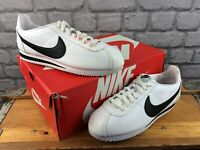 NIKE MENS UK 8 EU 42.5 CLASSIC CORTEZ LEATHER WHITE BLACK TRAINERS RRP £65 M
