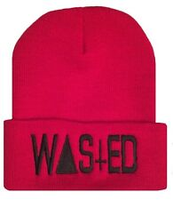 """Red/Black TRENDY COOL HIP CUFFED """"WASTED"""" BEANIE Beanies HAT SKULL CAP"""