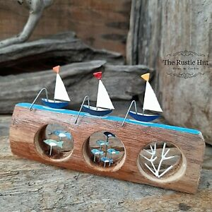 SMALL Yachts on Fish in Portholes Nautical Decoration Ornament - Shoeless Joe