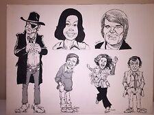 Anderson Original Drawing Of Hollywood Icons Including Glen Campbell, John Wayne