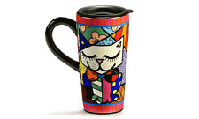 ✿ ROMERO BRITTO ✿ TRAVEL MUG:  CAT DESIGN  ** NEW **