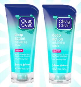 2 Clean & Clear Oil-Free Deep Action Exfoliating Facial Scrub 5 OZ