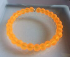 Neon Orange Coloured Frosted Glass Bead Memory Wire Bangle / Bracelet.
