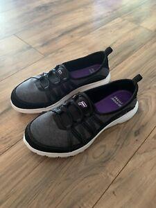 Fila Size 9 Black Memory Foam Breathable Slip On Sneakers Womens Shoes