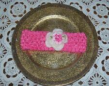 Handmade Crochet Baby Girl  Head Band  White & Pink  Newborn 6 Months