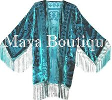 Teal Silk Burnout Velvet Fringe Jacket Kimono Short Maya Matazaro