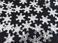 "100 Holiday Snowflake 3/4"" Craft Rhinestone Jewel Acrylic Crystal Clear/trim E34"