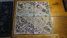 Vintage Souvenir HANKY, STATE MAP OF SOUTH DAKOTA Handkerchief, Rolled Edge