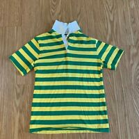 Vintage Montgomery Ward Yellow Green Striped Polo Rugby Shirt