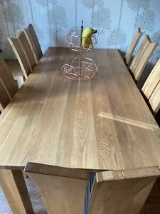 Solid Oak 8 Seater Dining Room Table And Chairs