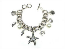 Silver Toned Charm Bracelet With Starfish Themed Charms and White Pearls