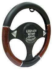 Black with Wood Effect Comfort Protection Interior Steering Wheel Cover Glove #1