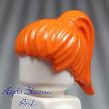 NEW Lego Female/Girl Minifig Bright ORANGE HAIR Head Gear w/Ponytail 1380 1382