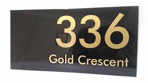 Gold on Black Aluminum House Address Signs 300mm x 150mm