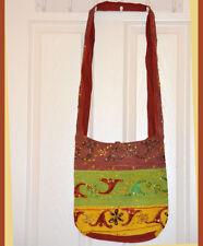 Hand Made Embroidered Sequin Sling Bag, Shoulder Bag, College Bag Green Brown