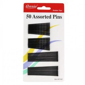 """ANNIE 50 ASSORTED SIZE BOB PINS 2"""" & 2 3/4"""" BLACK #3102 BALL TIPPED HAIR PIN"""