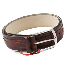 New $1100 BRIONI Burgundy Genuine Crocodile and Calf Leather Belt 36