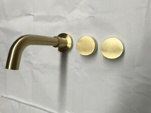 Burnished brushed Brass gold hot cold 1/4 turn wall tap faucet spout 150 200 mm