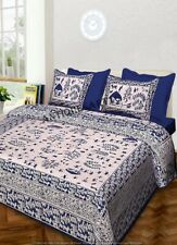 Handmade Indian Bed Sheet Cotton Blue Mandala King Size With 2 Pillow Cases Set
