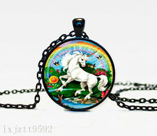 Unicorn Charm Glass Dome Cabochon Black Chain Necklace Pendant Jewelry (WC168)
