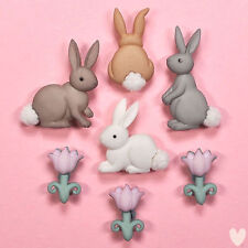 DRESS IT UP Buttons Cotton Tails 7705  - Easter Embellishments Rabbits