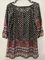 Boohoo Women's Top Size 16 Plus Size Black Geometric Pattern 3/4 Sleeve Tunic
