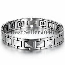 Tungsten Carbide Men's Powerful Health Magnetic Bracelet Link Wristband Cuff