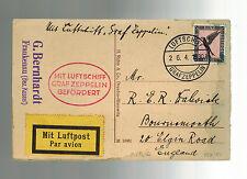 1930 Germany Graf Zeppelin postcard Cover to England Flight LZ 127