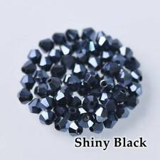 New 200pcs 3mm Bicone Faceted Crystal Glass Loose Spacer Beads Shiny Black