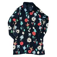 Zara Woman Size US L Bold Black Floral Long Sleeve Blouse Top Tunic Women's