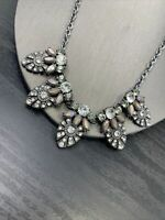 """Clear Glass rhinestone cluster Grey / Silver tone statement  18"""" Necklace"""