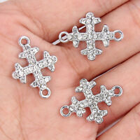 10X Silver Plated Cross Crystal Connector Charm Bead Jewelry DIY Accessory Craft