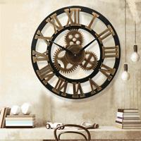 Wooden European Retro 3D Large Gear Wall Clock Silent Art Clocks Home Decor