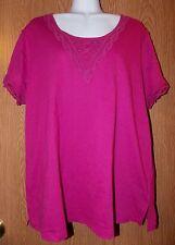 Womens Pretty Crochet Accent NorthCrest Short Sleeve Shirt Size 1X NWT NEW