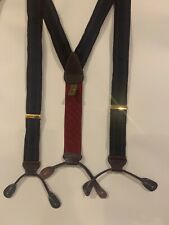 TRAFALGAR Mens Suspenders Red Blue Stripe Leather Tabs Burgundy Adjustable