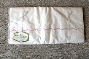 Vintage Wamsutta Supercale FULL Sheet & Pillowcase Pink Embroidered White 81x108