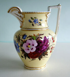 Antique Staffordshire English Porcelain HandPainted Floral Pitcher Yellow Ground