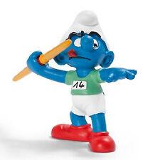 SCHLEICH SMURFS OLYMPIC SPORTS - 20744 - Javelin Thrower Smurf Figure- Retired