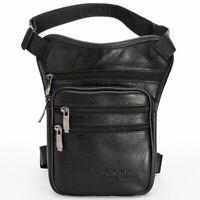 Men Genuine Leather Drop Leg Bag Waist Crossbody Bags Travel Riding Fanny Pack