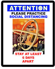Maintain Social Distance INSPIRATIONAL STICKER-Decal Signs (4) 8x10 In NEW