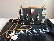$2,945 Lanvin Black Nappa Crystal Embroidered evening Clutch box Crossbody bag
