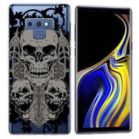 For Samsung Galaxy Note 9 Goth Cross Skull Black TPU Gel Skin Phone Cover Case
